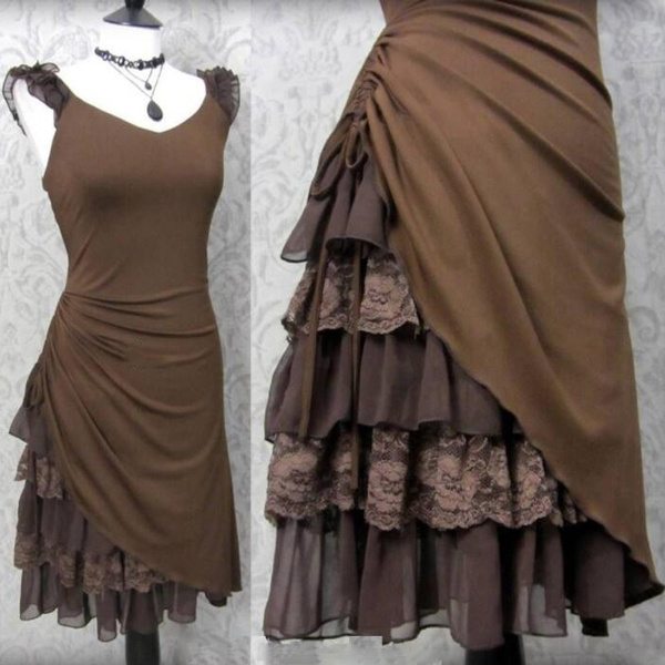 New Women Steampunk Dress Romantic Medieval Lace Up Dress Victorian Goth Costume