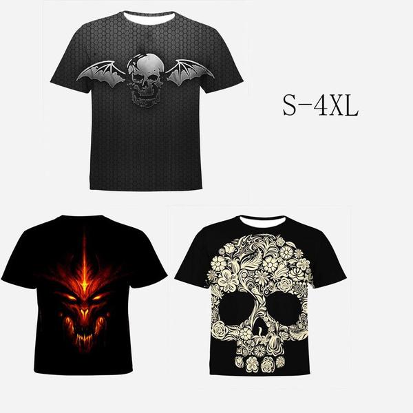 Fashion Men/'s  O Neck T-shirt 3D Printed Skull T-shirt Casual Short Sleeve Tops