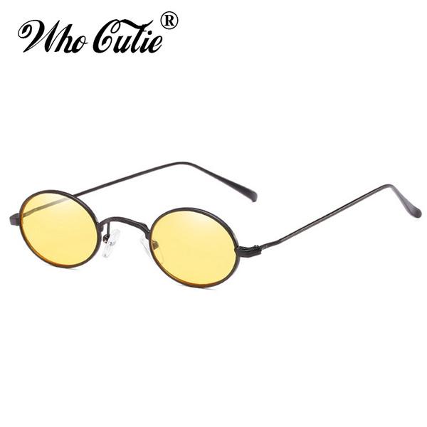 0293b1a9a85d 2018 Small Oval Sunglasses 90S Men Women Brand Designer Red Yellow ...