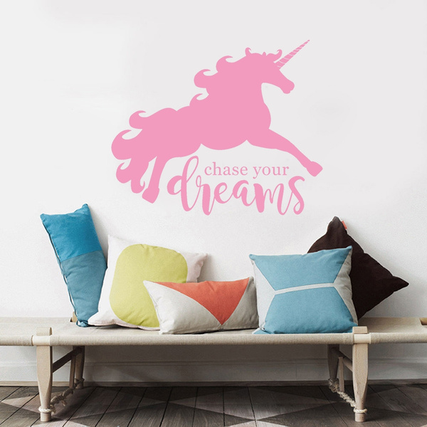 Unicorn Wall Decal for Baby Room Large Dream Big Vinyl Wall Stickers ...