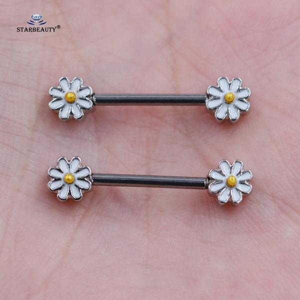 1 Pair Cute White Daisy Nipple Ring Helix Earring Gold Imitation