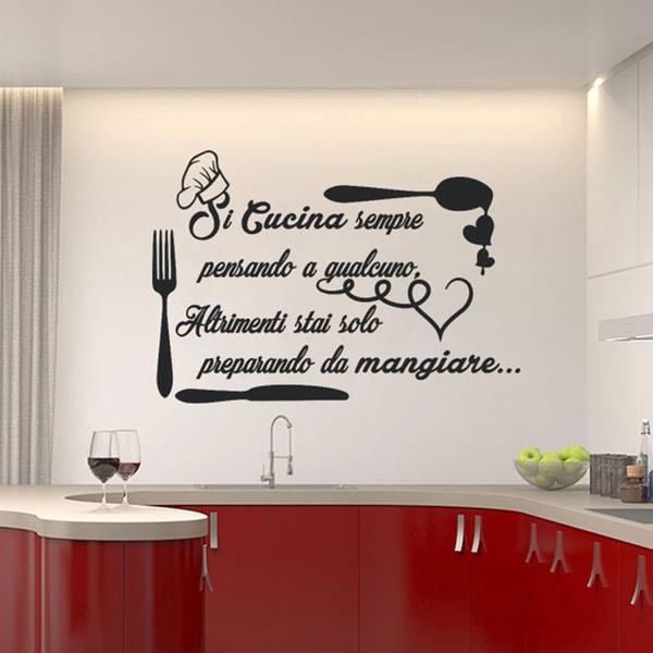 Adesivi Murali Low Cost.Fashion Grandi Adesivi Murali Cucina Si Cucina Sempre 80cmx55cm