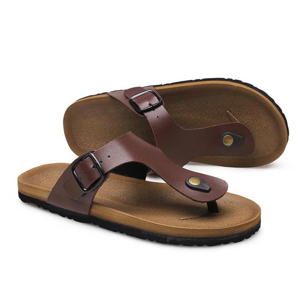 38ebc33f83e00 PU Leather Sandals Men Black Brown Flip Flops Casual Flat Sandals ...