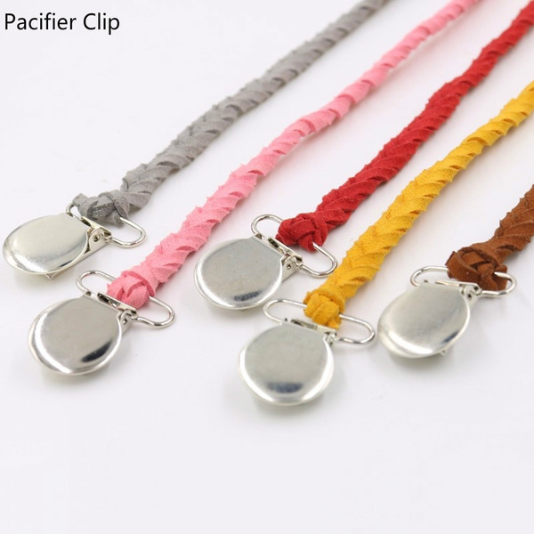 Feeding Braided Soother Infant Leather Pacifier Clips Baby Chain Nipple Holder