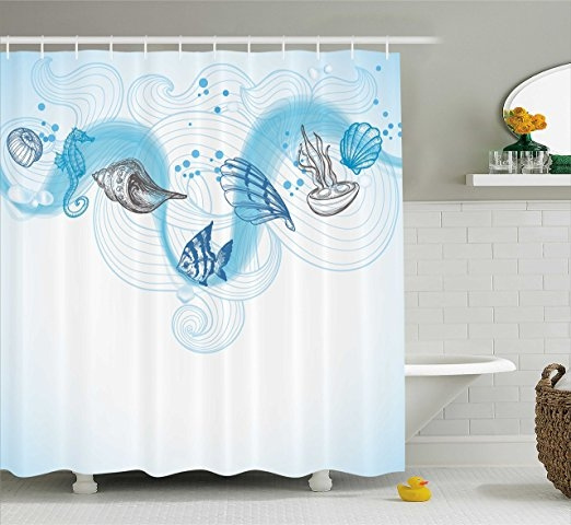 Nautical Shower Curtain Marine Theme Seashells Ocean Waves Fishes