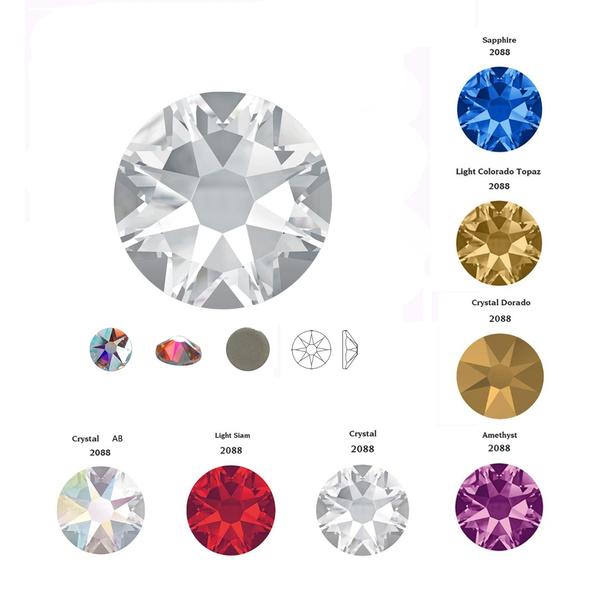 9747cdb70b 2088 Hot Fix 8 big + 8 smal Crystal Rainbow Rhinestones Glass Hotfix Strass  Stone Crystals AB Iron on for Clothes Garment