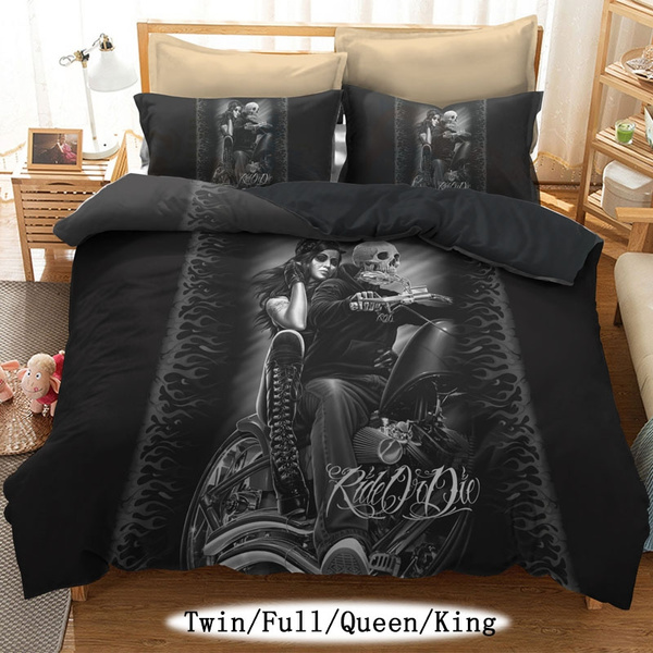 Bedding Set Printed Skull Duvet Cover Bedclothes King Queen Size Home Textile