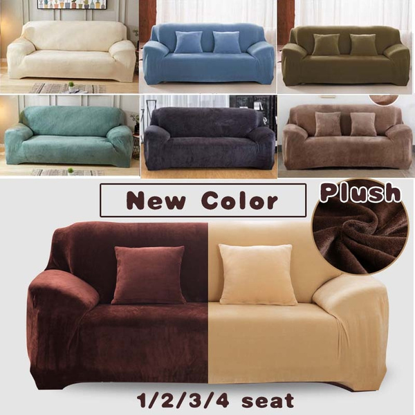 1 4 Seaters Thick Plush Recliner Sofa Covers Retro Cover Soft Couch Slipcovers 13 Colors Wish