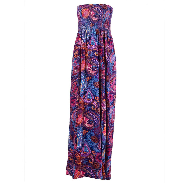 Wish | Women\'s Strapless Maxi Dress Plus Size Tube Top Long Skirt ...