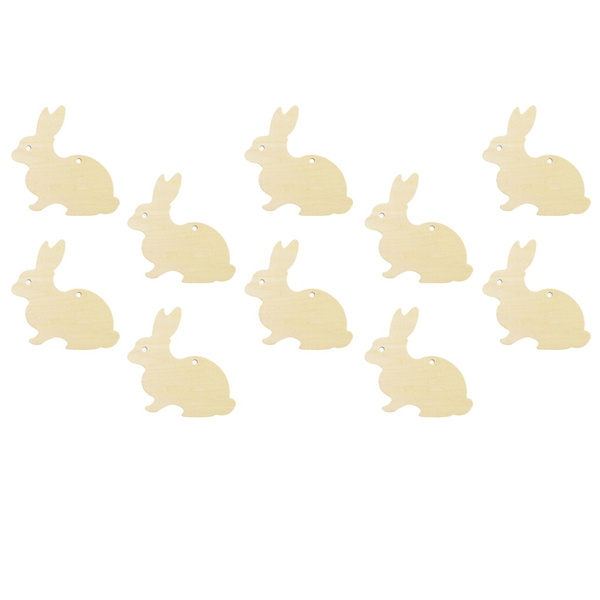 10 Pieces Rustic Wooden Easter Bunny Wooden Cut Craft Easter Decor Diy