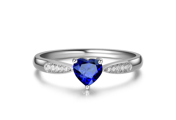 Silver Plated Ring Solitire Sapphire Gemstone Created Heart Shape Thin Ring Proposal