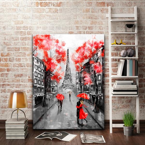 Oil Painting Paris European City Landscape France Wallpaper Eiffel Tower Black White And Red Modern Art Couple Under An Umbrella On Street Wish
