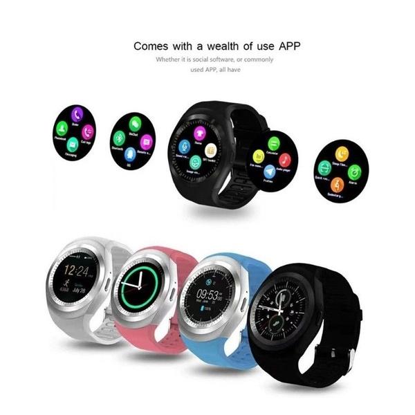 Waterproof Smart Watch Y1 Fashion Smartwatch Bluetooth Reloj Relogio 2G GSM  SIM App Sync Mp3 for Apple IPhone Xiaomi Android Phones PK DZ09
