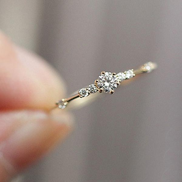 066d361ff20d0f Cute Dainty Women's 14K Gold Plated Snowflake 5 Diamond Rings ...