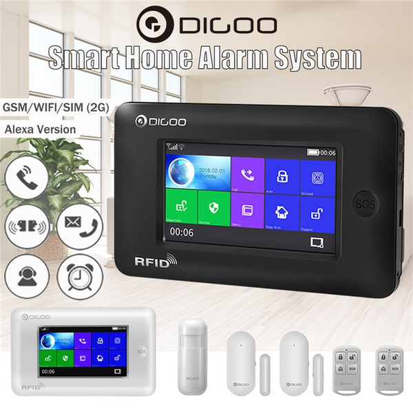 Digoo DG-HAMA All Touch Screen 433MHz GSM and WIFI Wireless DIY Smart Home  Security Alarm System Kits Compatible with Alexa Version