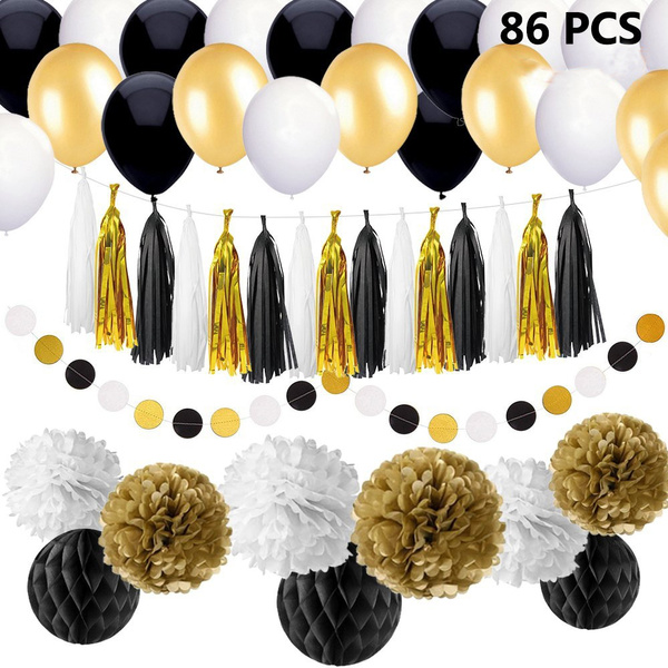 86 Pcs Black And Gold Party Decorations Kit Diy Birthday Party