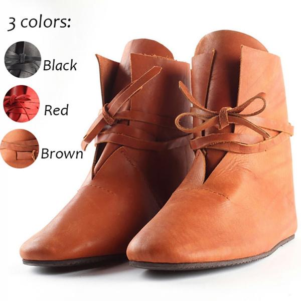 Pointues Plates En Cuir Simples Femmes Médiévales Confortables Pour Chaussures Bottes De Cosplay cR35jL4AqS