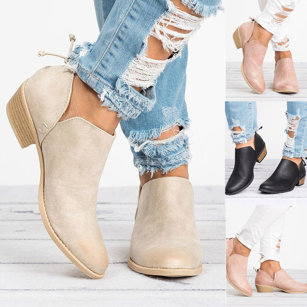 Low Chunky Heel Round Toe