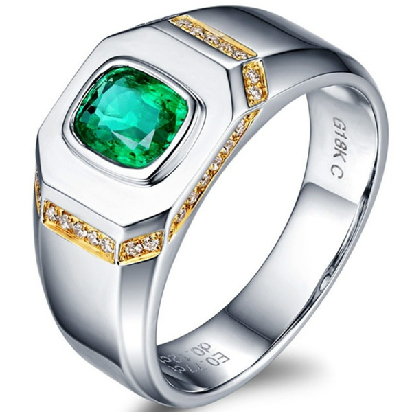 Business Men Fashion 925 Sterling Silver Ring 2 0ct Natural Emerald Wedding Engagement Party Jewelry Wish