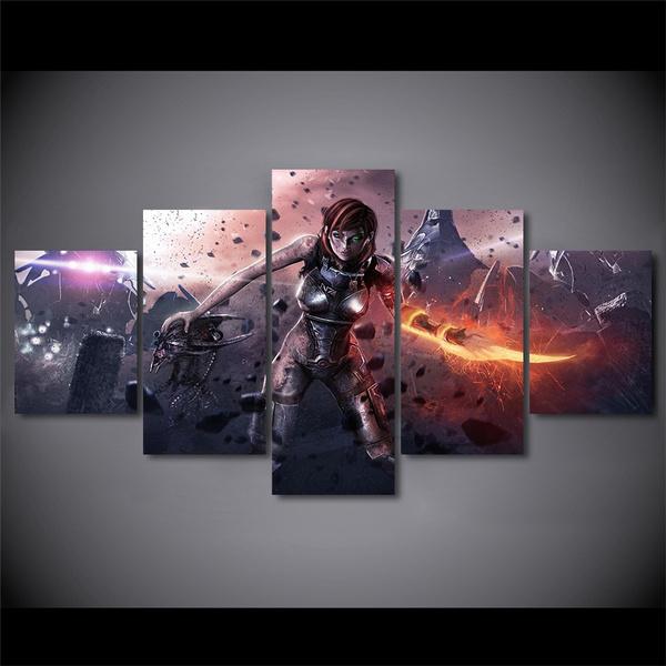 Wish | 5 piece canvas wall art Unframed mass effect Female warrior ...