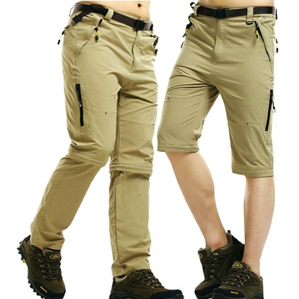 Men Quick Dry Waterproof Convertible Cargo Outdoor Long Pants Zip Off  Trousers