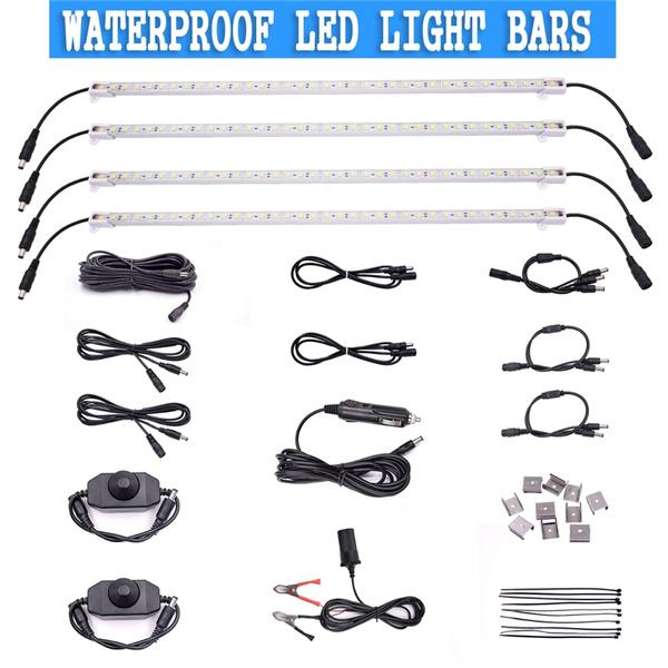 4xRigid LED Strip+Car charger+Splitter+Dimmer Switch+Extension  cable+Bracket holder+Clamp+Female Cigarette Socket,Highlight Light Bar  Kitfor Cars