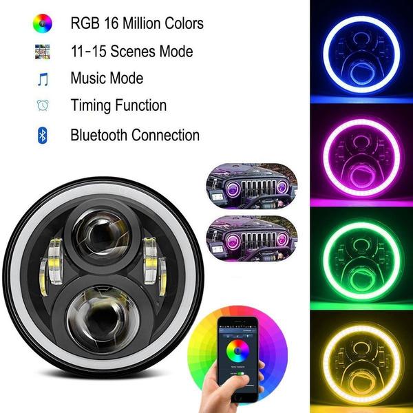 "7/"" LED RGB Headlight Flashing RGB Angel Eye Halo Ring for Jeep Wrangler LJ CJ JK"