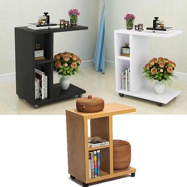 Superb Mobile Coffee Tray Side Sofa Table Stand End Tv Lap Snack Dark Coffee White Wood Color Unemploymentrelief Wooden Chair Designs For Living Room Unemploymentrelieforg