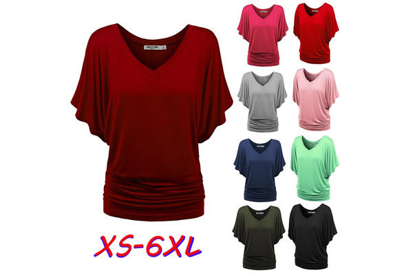 Women's Fashion Summer V Neck Batwing Short Sleeve T Shirt Casual Solid Color Blouse Loose Cotton Tops Plus Size XS-6XL