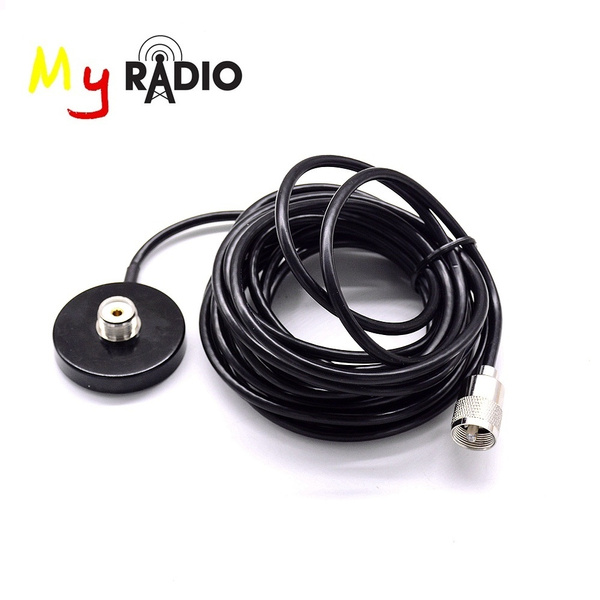 Magnet Antenna Mount 5M Feeder Cable for Car Mobile Two Way Radio 5 6CM  Diameter Connector PL259 Magnetic Antenna Base Sucker