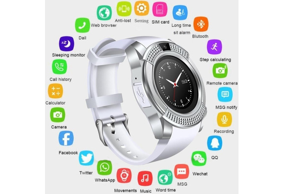 Bluetooth Smart Watch V8 With Camera Bluetooth WristWatch For Ios Android  Men Women Smartwatch VS X6 U8 A1 Q18 DZ09 GT08 T8 Y1