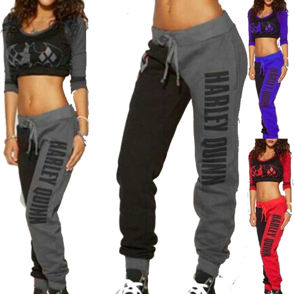 Women Fashion Suicide Squad Harley Quinn Tracksuit Jogging Trousers Cotton Gym Sports Suit Plus Size Xs 5 Xl by Wish