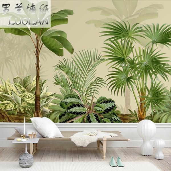 Southeast Asia Tropical Palm Tree Wallpaper Restaurant Porch Bedroom Living Room Green Coconut Tree Wallpaper Plant Mural