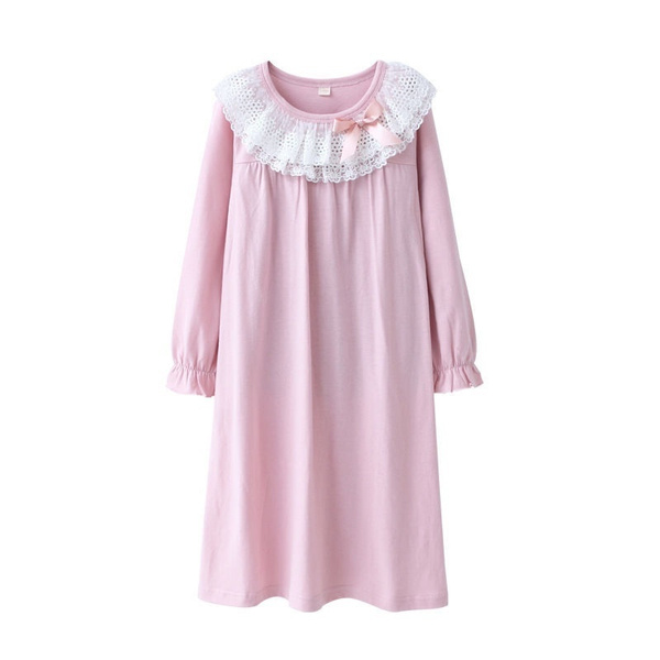 Kids Dress Cotton New Night Long Nightwear Sleeve Ladies Nightwear Pyjamas Girls