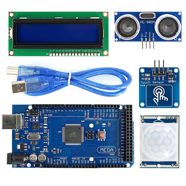 MEGA2560 BreadBoard Advance Kit with Sensors Servo Motor LCD Display  Tutorial for Arduino Gadgets Power Supplies