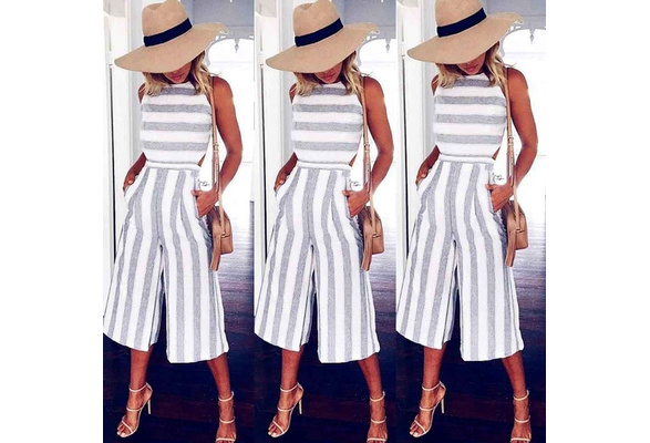 Ladies Women Summer Jumpsuit Sleeveless Striped Clubwear Wide Leg Pant Summer Outfits For You