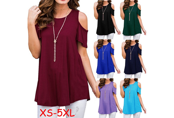 XS-5XL Women's Fashion Summer Solid Color O-Neck Cold Shoulder Short Sleeve T Shirt Ladies Casual Loose Cotton Tops Blouse Plus Size