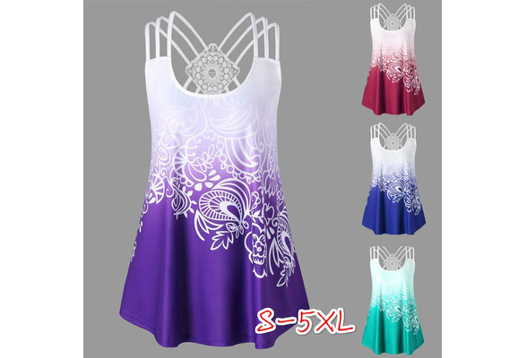 2018 Summer New Women Fashion Sexy Sleeveless Tank Top Floral Print Casual Women Cotton T-shirts Plus Size Women Vest(S-5XL)