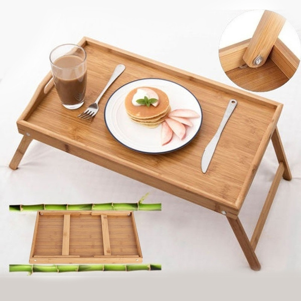 Foldable Bamboo Wood Breakfast Table Bed Tray Laptop Desk Picnic Table