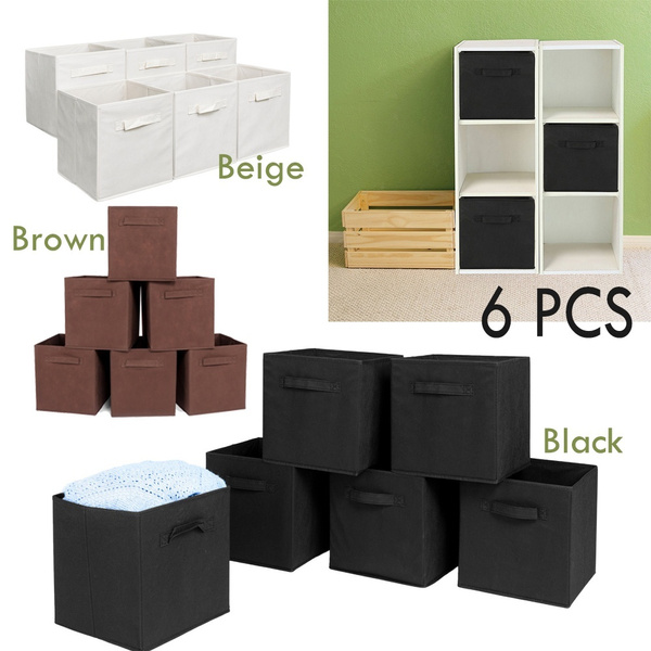bc710a58def9 6 PCS Foldable Storage Cube Basket Fabric Drawers Best Cubby Organizer Box  Closet Bins Container Organizer Fabric Shelf Basket Drawer Black Beige ...