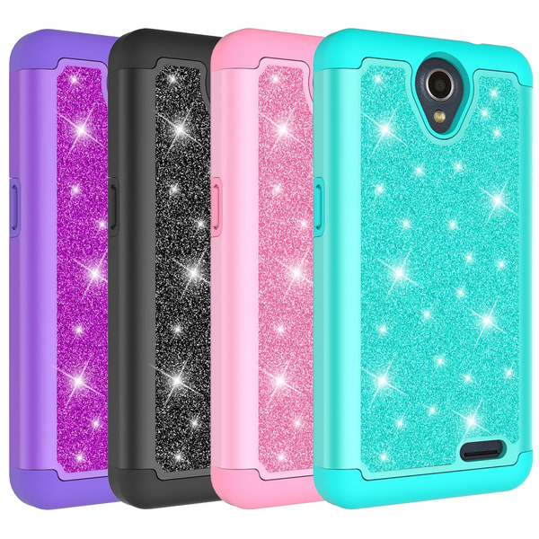 For ZTE Maven 3 (AT&T) / ZTE Overture 3 / ZTE ZFive 2 LTE Case Glitter  Bling Girls Wome Design [PC Silicone Leather] Dual Layer Heavy Duty  Protective