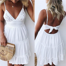 summer dress, pleated dress, Lace, Beach