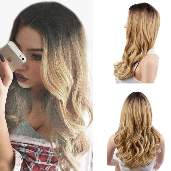 Summer 2 Style Ombre Brown Blond New Fashion Hair Wigs For Beauty Women Girls Long Wavy Wig