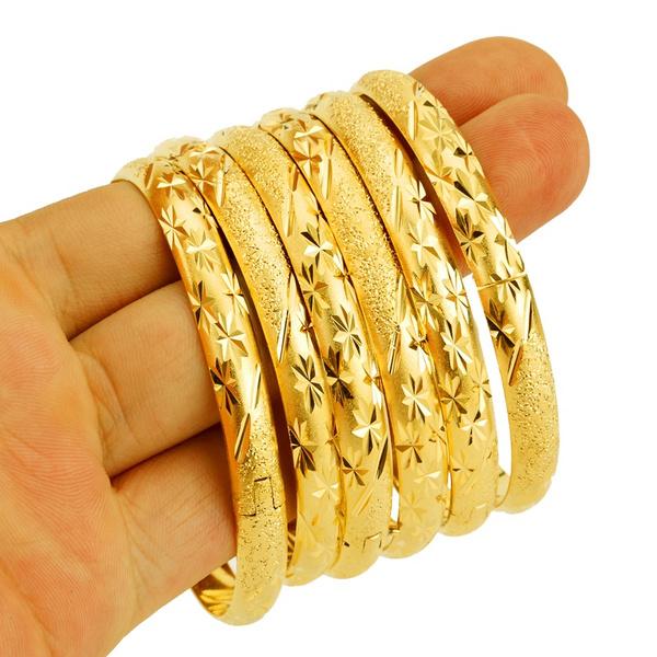 8mm Dubai Gold Bangle Jewelry For Women Men Color Ethiopian African Bangles Bracelets 1pcs
