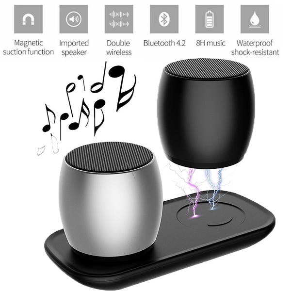 Twins Bluetooth Speakers W Wireless Charging Dock Portable True Wireless Speaker With Built In Mic Thunder Beats Stereo Speakers Set With Hd Sound Wish