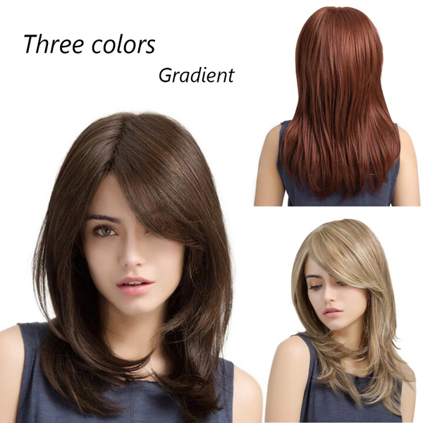 Beauty Side Parting Long Wig Women S Fashion Medium Length Hair Japanese Style Pear Rolls Wigs