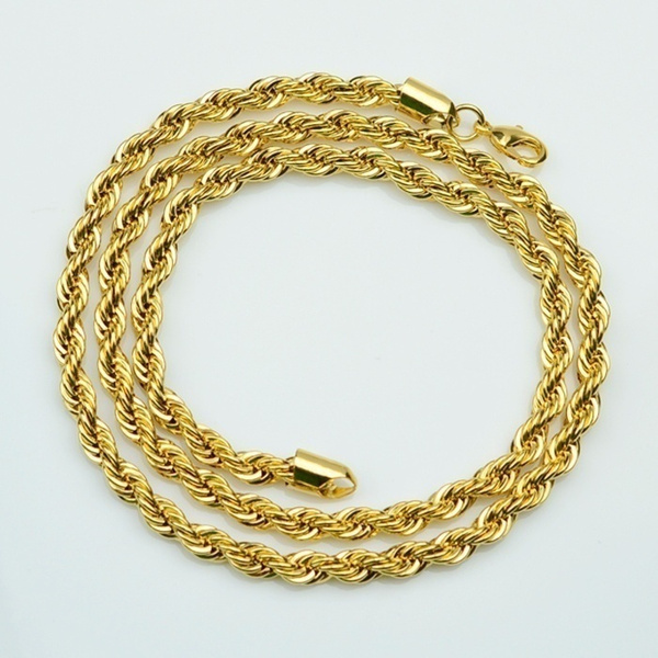 f542238af39d56 Wish | 18k Gold Long Chain Necklace Men Jewelry Brand Gothic Gold ...