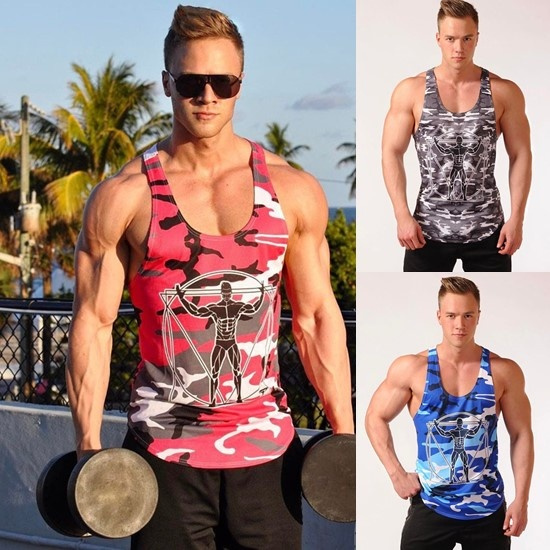77410043 Fitness Men Tank Top Army Camo Camouflage Mens Bodybuilding ...
