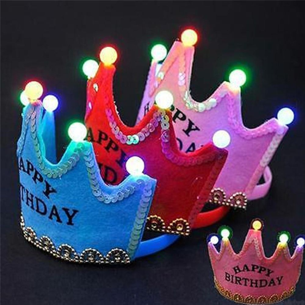 King Princess Luminous Led Birthday Cap Hat Crown Happy Colorful Christmas Event Party Decor Product Size11511CM