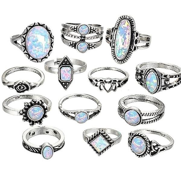 Sterling, moonstonering, Turquoise, ringsset